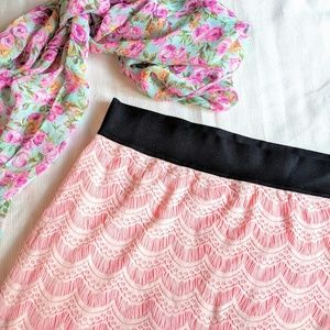 Free People lace double layer soft pink skirt